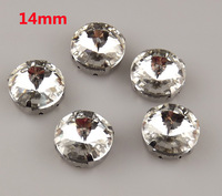 free shipping 12pcs/dozen 14mm round transparent white glass crystal loose claw rhinestone pieces for garment sewing decoration