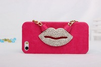 2014 new lips bracket cute phone case for iphone 4 4s 5 5s case cover +Retail box 5pcs/lot handbags