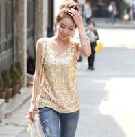 2015 Women's  summer loose slim spaghetti strap paillette vest basic shirt female  6639 free shipping  S-XXXXL