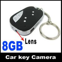Hidden Car Key Keychain camera Remote 909 Micro Camera Mini DV DVR keychain + 8GB card Free Drop shipping