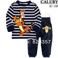 2014 childrens tiger pajamas sleepwear clothes sets boys girls cars cartoon pajama tshirts+pants 100%cotton Retail 1pcs