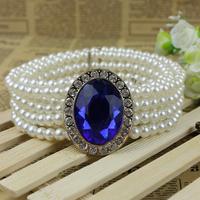 Fashion gem series women's pearl elastic waist chain all-match women's rhinestone decoration wide belt