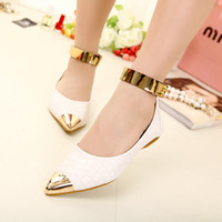 2013 summer flat metal decoration pointed toe flat heel shoes women's fashion shallow mouth of the small white shoes single