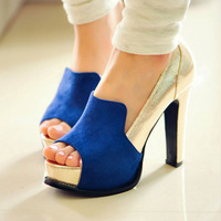 2013 spring fashion high-heeled shoes patchwork women's open toe shoes thick heel platform color block single shoes