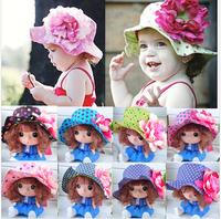 2014 New summer cute baby fashion big flower polka dots print sun hat  kids cotton hats   bucket hats girls princess hat