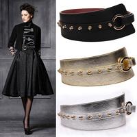 Fashion fashion rivet ultra wide cummerbund genuine leather tieclasps cummerbund all-match Women decoration elastic