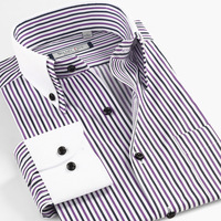 Hot Sale Brand Men's Purple stripe commercial double collar long-sleeve casual cotton shirt  blouse formal shirts Plus size 2014