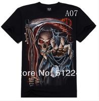 Creative Metal Personalized Men Tee Rock T-shirt 3Dt shirt compassionate sickle skeleton cm punk punk t shirt