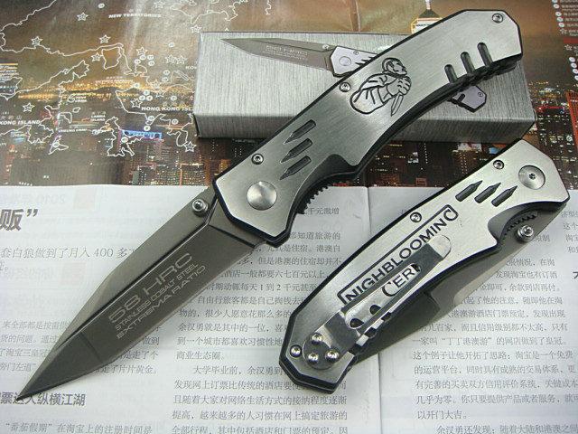 EXTREMA RATIO F-35 Flat Edge Folding knife Pocket Hunting Knives 440C 58HRC Plating Gray Titanium Blade All-Steel Handle KN817(China (Mainland))