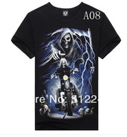 2014Metal personalized hiphop male 3dt o-neck short-sleeve t shirt skull