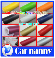 50*200CM Car Styling Waterproof DIY Car Sticker Car Styling 3D 3M Car Carbon Fiber Vinyl Wrapping Film 19*78inch  12 Color