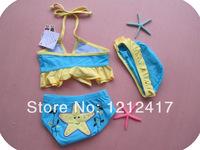 Pink Platinum Toddler Girls Seastar 3Pc Tankini Swimsuit with Cap 5sets/Lot Swimwear Bikini Swimsuit for Ages 2-6