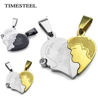 TSN073087-88 Fashion 316L Stainless Steel Couple Necklaces Puzzle Kiss Necklace