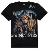 2014Skull Men's round neck short sleeve T-shirt 3Dt shirts rock t-shirt sickle skeleton creative men free shipping