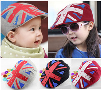 2014 Spring Summer UK Flag Kids sports Children Berets cap/hat Free Shipping