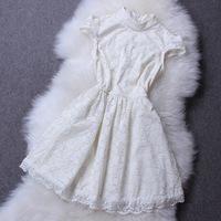 2014 Spring Summer Fashion Ladies New European and American Lace Dress Women Puff Sleeve High Streert Dresses vestido de renda