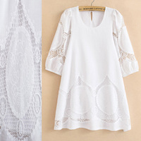 Women Summer Dress  2014 Fashion Crochet Embroidery Blouse Casual dress & lining,New 2014 White dresses Cotton Tops Vestidos
