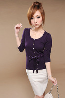 Spring and summer new arrival fashion mm elegant butterfly silks and satins ribbon knitted sweater
