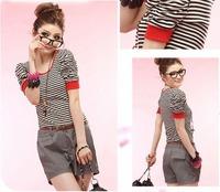 Plus size clothing fashion stripe puff sleeve princess sleeve women's t-shirt 6310
