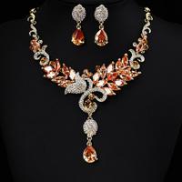 Zircon Neckace earrings jewelry set Elegant Rhinestone Crystal Wedding Bride Party