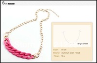 Wholesale - Women Jewelry CCB + Aluminum Gold Chains Pink,White Chokers Simple Style Necklaces 1pcs Free Shipping