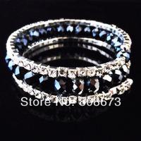 6PCS/LOT Vintage Style Three Row Black Rhinestone Crystal Elastic Bracelet