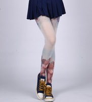 new 2014 Cute Womens Sexy 80D Velvet Stockings Tattoo Pantyhose Angel Print Tights