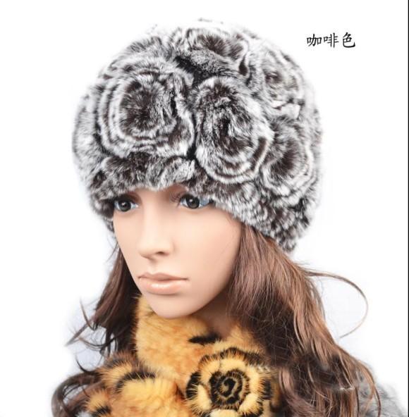 Winter thermal 2012 rex rabbit hair millinery fur hat rabbit fur knitted winter hat the elderly cap(China (Mainland))