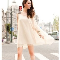 2014 New Fashion Europe and America Women Summer Dress Chiffon Fringed epaulets sleeveless Prom Dress With Free Belt 1013