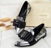 2014 women's shoes multicolour flat heel print cowhide single shoes comfortable single shoes women's shoes