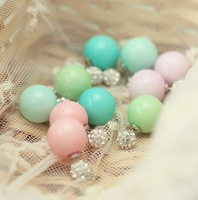 5 Mixed Sweet Candy Colors Double Side Usage Rhinestone Pearl Ball Ear Cuff Earrings for women Korean Fashion 2014 Summer