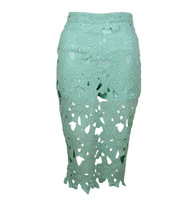 New 2014 Women Sexy Lace Summer Skirts Cutout Embroidery Lace Placketing Vintage Elegant Long Skirt Womens
