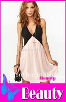 Free Shipping S-XL Plus Size 2014 New Sexy Deep V Neck Dress Fashion Women Hollow Out Back Sleeveless Chiffon Summer Dress