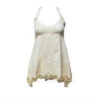 New 2014 Exquisite Embroidery Tassel Skirt Lotus Leaf Racerback Spaghetti Strap Vest Vestidos Desigual Party Dress for Women