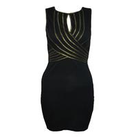 New 2014 Sexy Club Party Dress love culutre Gold Bordered Bandage Dress Transparent Racerback One-piece Dresses Vestidos Women