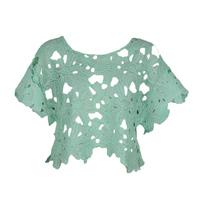 New 2014 Women's  Cutout Laciness Lace Floral  Short Top Shirts