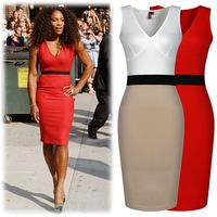 New 2014 Summer  One-piece Dress OL Sexy Deep V-neck Patchwork Hip Slim Tank Dresses for Women Wholesale Plus Size dress