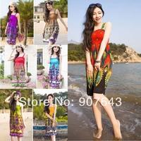 2014 Fashion Retro Vintage Paisley Print Hippie Bohemian Summer Dress Women casual Beach Dresses Free shipping