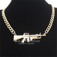 Celebrity Gold Machine Gun Style Statement Chunky Bib Collar Necklace Hip Hop Jewelry Free Shipping