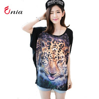 free shipping new 2014 spring summer personality leopard print head stitching round collar casual plus size women t-shirt 6408