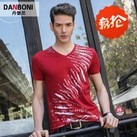 2014 summer new arrival V neck t-shirt short sleeve shirts fashion korean style shirt cheap casual men shirt for men
