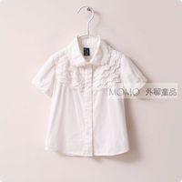 2014 spring child baby girls clothing cotton embroidery 100% peter pan collar long-sleeve basic white shirt