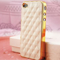 Luxury Gold Leather Case for iPhone 5 5S 5G / 4 4S 4G Soft PU Sheep Grid Pattern Lattice Back Skin Cover For Phone RCDac259