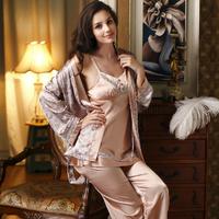 Free Delivery High Quality Silk Pajama Sets New 2015 Satin Pajamas for Women Three-piece Sleepwear Brand Pijama Women Pyjamas
