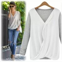 LD8242 New Style High-density Stitching Knitted Chiffon Fashion Shirt  Women's 2014 Long Sleeve V-neck  Blouse