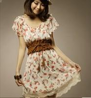 2013  Women's New Free Shipping  Sweet Cherry Printed Summer Dress With Tassel Belt  O13062509