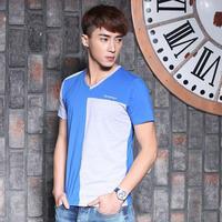 2014 summer new arrival V neck t-shirt short sleeve shirts fashion korean slim fit style shirt cheap casual men shirt for men