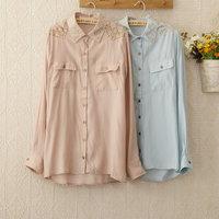 European Fashion Blusas Femininas Geometric Stud Collar Long Sleeve Blouses camisas Shirts Women Spring 2014 Sale Top S/M/L 1124