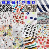 Velvet fancy small pattern chiffon one-piece dress top diy print chiffon