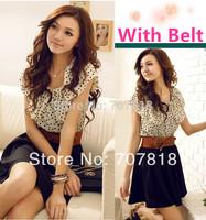 With Belt !2014 new women's waist dress dot breathable fashion short-sleeved dress free shippin